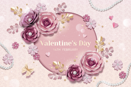 Happy Valentine's day template with paper flowers decorations