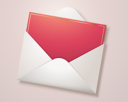 Blank red card with open envelope in 3d illustration