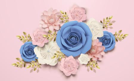Elegant paper flowers decorations on pink background in 3d illustration