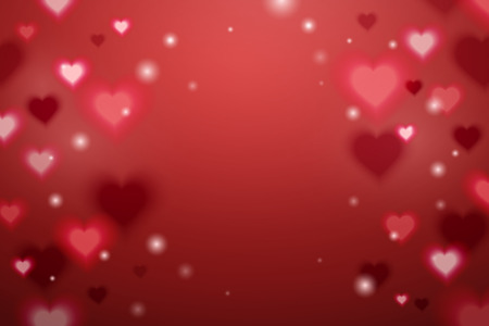 Glittering heart shaped effect background in red