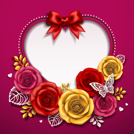 Happy Valentines day card design with roses in 3d illustration