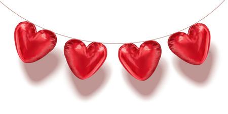 Palloncini a forma di cuore appesi in aria, illustrazione 3d