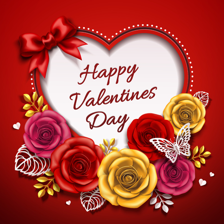Happy Valentines day design with roses in 3d illustration Illustration