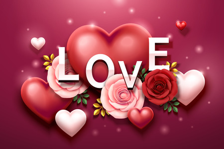 Valentine's day design with roses and heart shaped decorations in 3d illustration 向量圖像