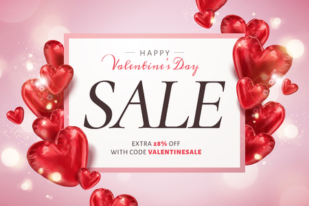 Happy Valentines day sale template with heart shaped balloons in 3d illustration