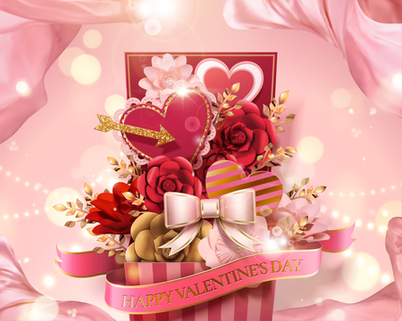 Valentines day gift box full of paper flowers and heart decorations in 3d illustration