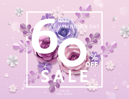 Happy Valentine's day sale template with paper flowers decorations Stock fotó - 116084404