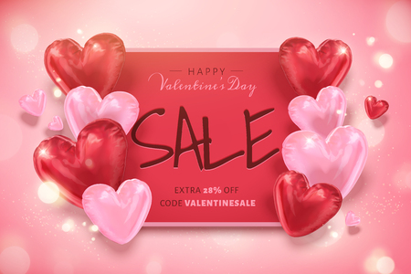 Happy Valentine's day sale template with heart shaped balloons in 3d illustration Stock fotó - 125776466