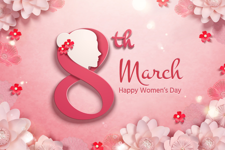 Happy womens day with womans head and pink paper flowers frame