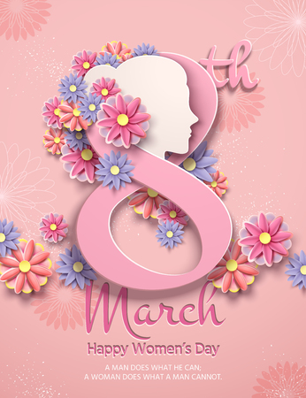 March 8 women's day poster with paper flowers in light pink