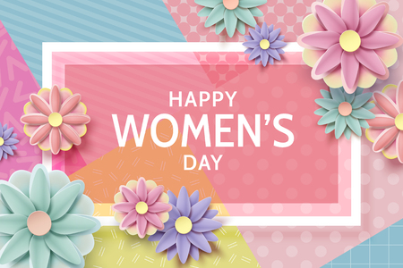 Happy womens day card template with paper flowers decoration Illustration