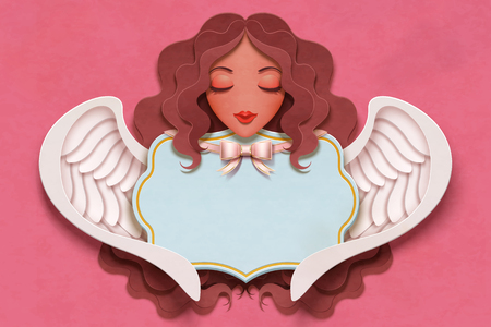Beautiful angel with curly long hair in paper craft style Иллюстрация