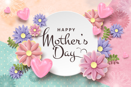 Happy mother's day card template with paper flowers and foil heart shaped balloons Reklamní fotografie - 125299618