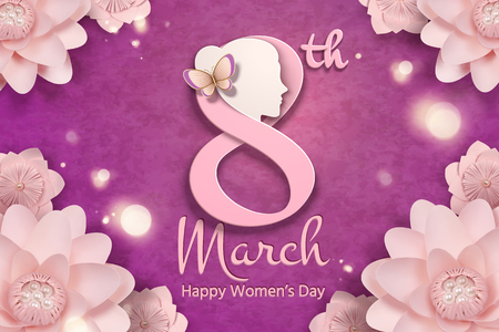 March 8 women's day with woman's head and pink flowers frame in paper craft style