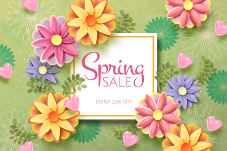 Spring sale template with paper flowers on green background