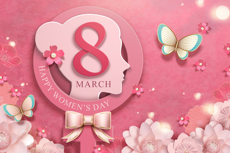 March 8 women's day with woman's head and pink flowers garden Foto de archivo - 125299622
