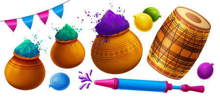 Happy holi festival element with colorful gulal, dhol and pichkari on white background