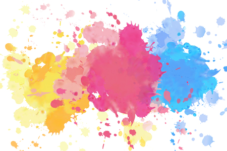 Vivid splashing watercolor drops on white background Иллюстрация