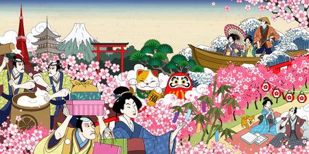 Escena de visualización de flores alegre tradicional de japón en estilo ukiyo-e Ilustración de vector