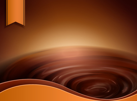 Swirling chocolate sauce with orange label for design uses