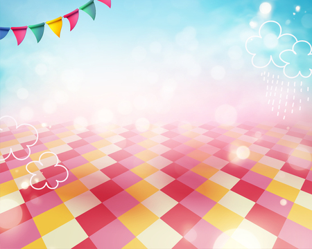 Colorful scene background with grid floor and blue sky Stok Fotoğraf - 124511635