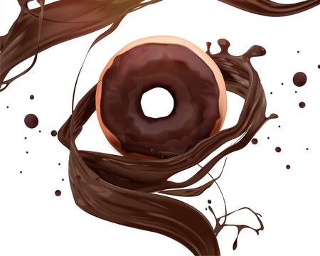 Chocolate donut ad with swirling sauce in 3d illustration