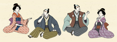 People in Japanese traditional custom in ukiyo-e style