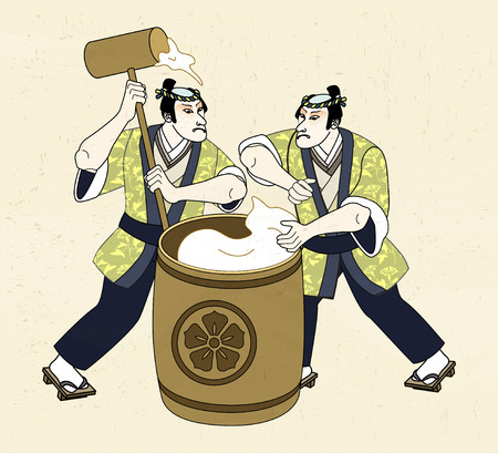 Ukiyo-e style man pounding mochi with big wood mallet 向量圖像