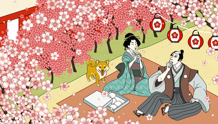 Ukiyo-e style beautiful cherry blossom viewing activity Ilustração