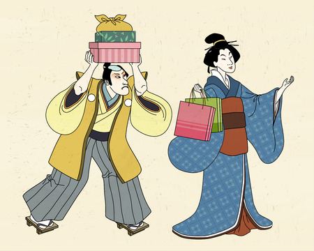Woman in kimono shopping with her servant, ukiyo-e style