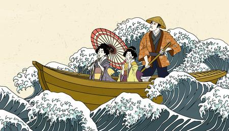Personas sosteniendo paraguas en barco en estilo ukiyo-e.