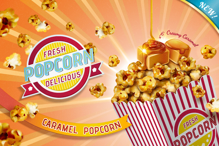 Ads of classic caramel popcorn in striped paper container, 3d illustration Ilustração