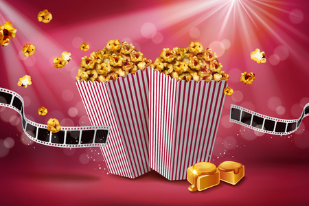 Classic caramel popcorn ads with film roll on bokeh red background, 3d illustration
