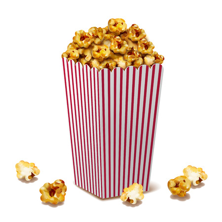 Caramel popcorn in classic striped container, 3d illustration design