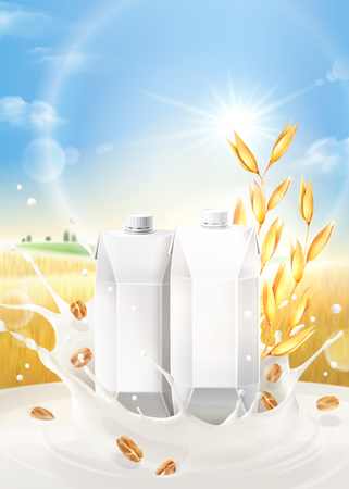 Oat milk ads with splashing liquid and blank carton boxes on bokeh grain field background in 3d illustration