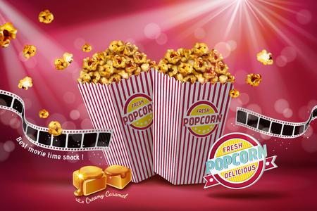 Klassische Karamell-Popcorn-Werbung mit Filmrolle auf rotem Bokeh-Hintergrund, 3D-Darstellung