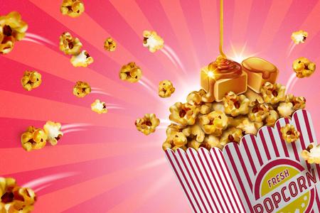 Palomitas de maíz de caramelo clásico en recipiente de papel rayado, ilustración 3d Ilustración de vector