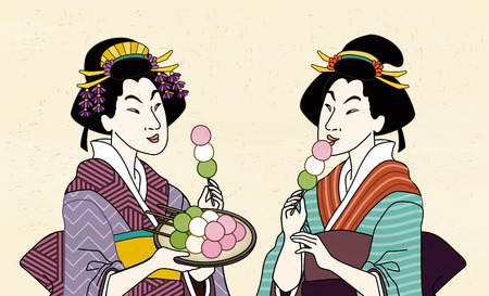 Two geisha eating mitarashi dango in kimono, ukiyo-e style