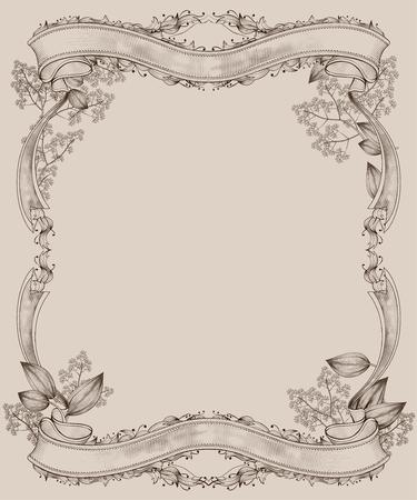 Graceful retro wood cut style frame in beige tone