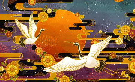 Japoński tradycyjny wzór ptaka żurawia i chryzantemy Ilustracje wektorowe