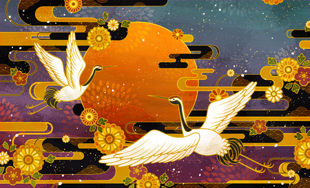 Japanese traditional crane bird and chrysanthemum pattern design