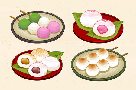 Japanese traditional dessert set with dango and mochi Vectores
