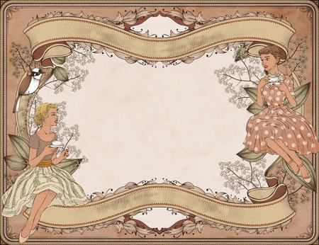Graceful women having afternoon tea in garden, woodcut style background