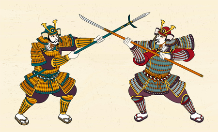 Two Japanese samurai in amour fighting through sword