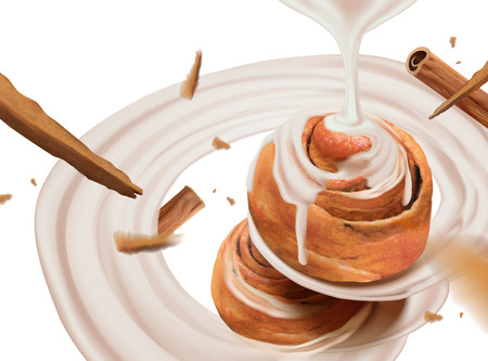 Cinnamon rolls with swirling condensed milk in 3d illustration