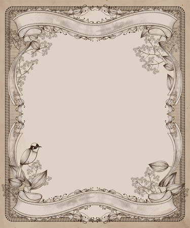 Graceful retro wood cut style frame with bird and plants in beige tone