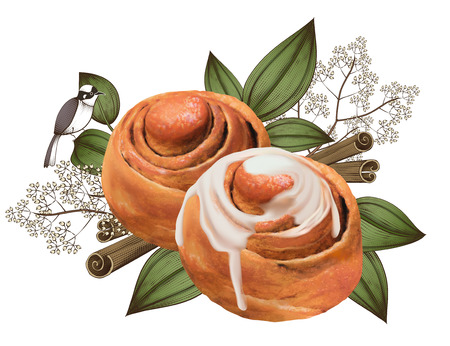 Cinnamon rolls with exquisite leafs and bird decorations in 3d illustration