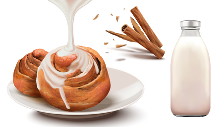 Cinnamon rolls with condensed milk and bottled milk in 3d illustration Ilustração