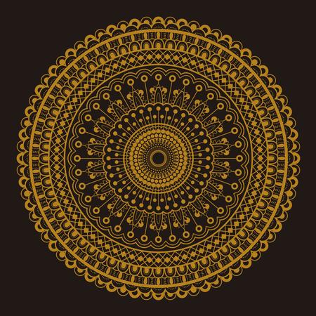 Round motif pattern design in golden and dark brown color 写真素材 - 123586231