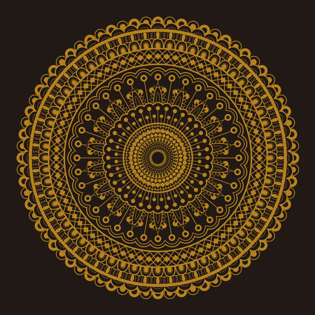 Round motif pattern design in golden and dark brown color